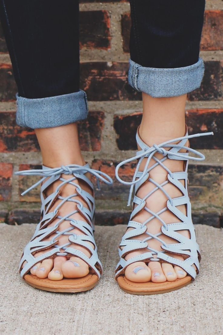 BABY BLUE LACE UP FRONT ZIP BACK STRAPPY SANDAL