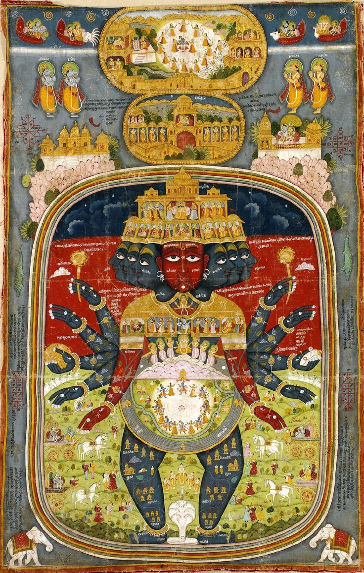 Cosmic form Vishnu.  Rajasthan, late 18th / early 19th Century.