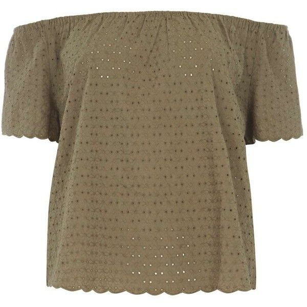 Dorothy Perkins Khaki All Over Lace Bardot Top (€25) ❤ liked on Polyvore featuring tops, khaki, brown tops, scalloped top, scalloped lace top, lace top and lacy tops
