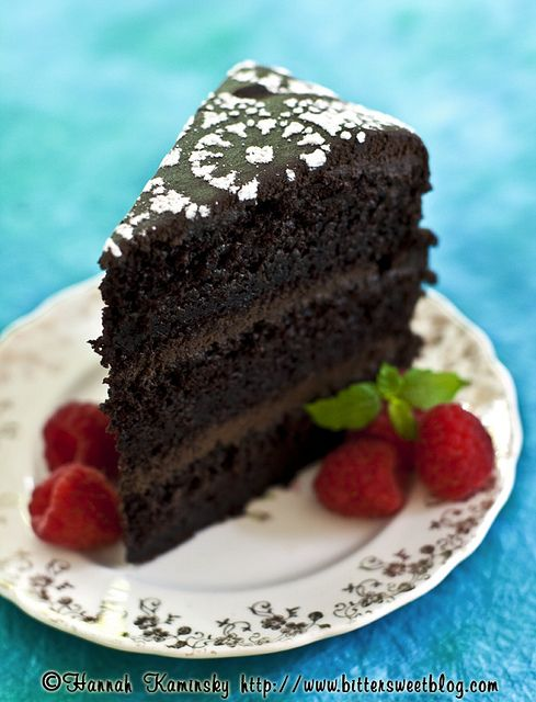 Ultra-Moist Amazing Chocolate Layer Cake - Vegan. powdered sugar over a doily makes for a very elegant touch