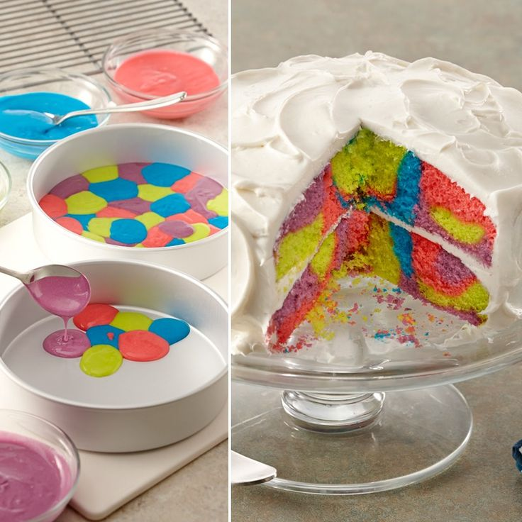 This tie dye cake is not difficult to prepare because you start with a cake mix and canned frosting. Get the cool colors with McCormick Assorted NEON! Food Colors & Egg Dye.