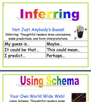 I have these in my classroom but people are always wanting themin color...now I know where to get them :) Reading Comprehension Posters (add tangible items based on Tanny McGregor's work)