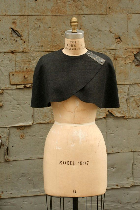 SALE Reg. $148    Caplet No.1 *Autumn Winter *Wool  *This caplet is Unlined  *Distressed Leather Trim  *Raw Edges  *Unlined  *Industrial metal snaps