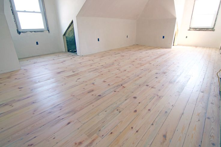 MIxture of White wood, white pine, and Spruce. Random width plank flooring. Top coated with Pallmann's Magic oil - White hard wax oil