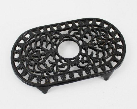 French black cast iron trivet - Vintage kitchenalia , Black enamel trivet, Oval cast iron trivet, Enamel pot stand, E187