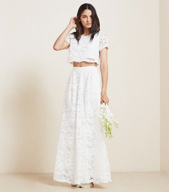 Reformation Sofia Two Piece Crop Top Wedding Gown in Ivory