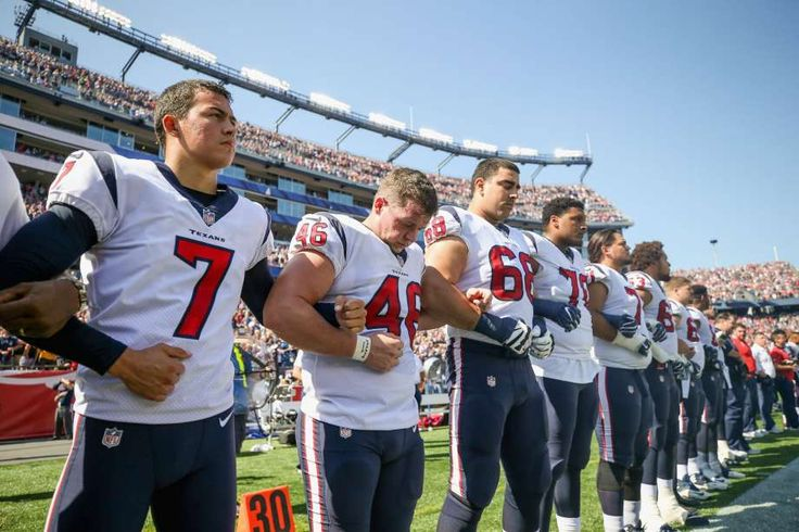@TexansOn Sunday's game versus the Patriots, the Texans locked arms during the national anthem.See how Twitter's reaction to the Texans and other teams during the national anthem. Photo: Maddie Meyer/Getty Images
