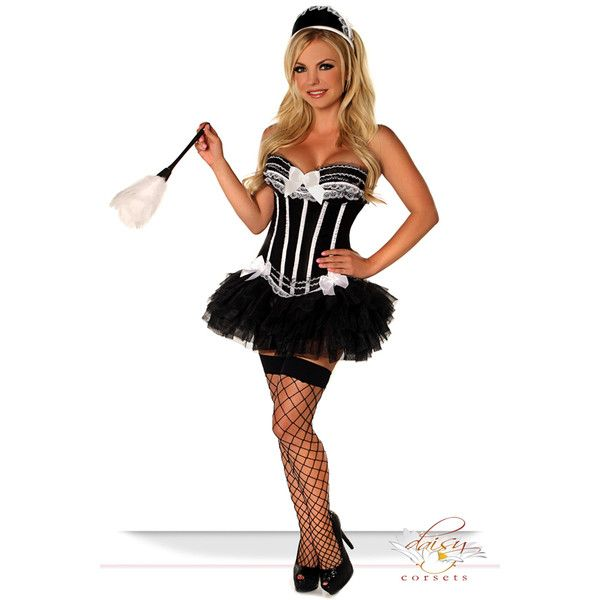 4 pc sexy french maid costume ($120) ❤ liked on Polyvore featuring costumes, blackwhite, burlesque costumes, white halloween costumes, daisy halloween costume, sexy halloween costumes and feather costume
