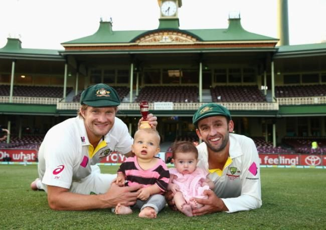Australian Players Celebrate Ashes Win With Family,  Shane Watson & Will & Nathan Lyon & Harper