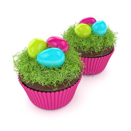 3d render of Easter muffin with grass and eggs — Stock Photo © ayo888 #141498410