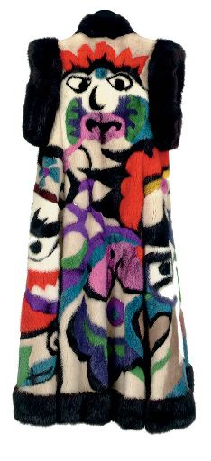 CHRISTIAN DIOR FULL-LENGTH SLEEVELESS COAT OF MULTI-COLORED DYED MINK WORKED WITH WARRIOR MASKS FROM THE PEKING OPERA