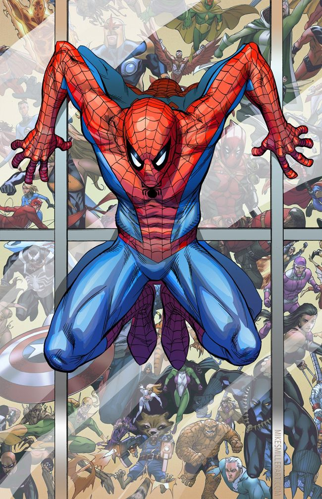 Spider Man vs Marvel Universe Art Print