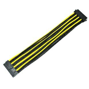 Yellow black sleeved wires cables psu pc computer