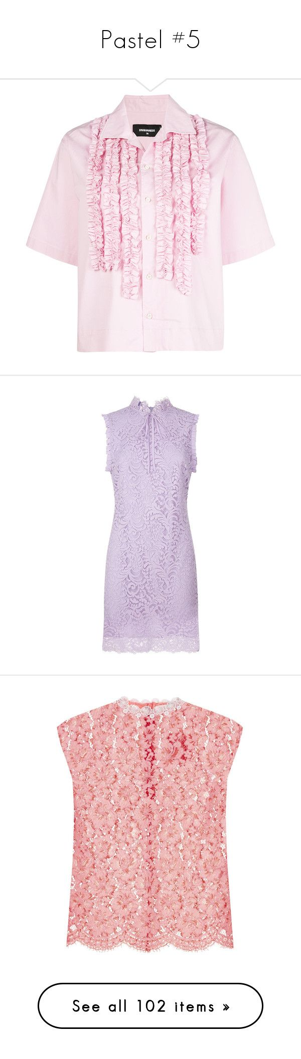 """Pastel #5"" by webuildbridgesnotwalls ❤ liked on Polyvore featuring tops, short sleeve collared shirts, short sleeve shirts, light pink top, slim shirt, button down collar shirts, dresses, purple lace cocktail dress, purple lace dresses and purple sleeveless dress"
