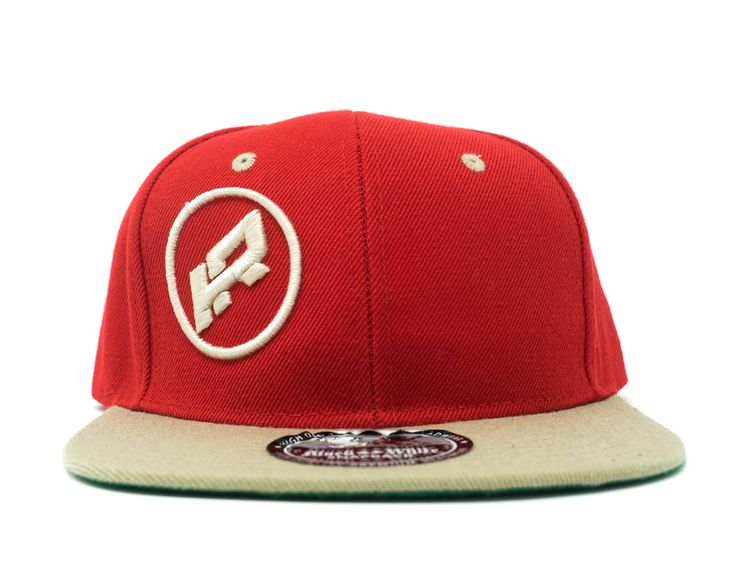 red and beige ring logo cap