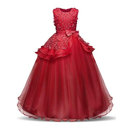 ADHS Girls Sleeveless Embroidery Princess Pageant Dress