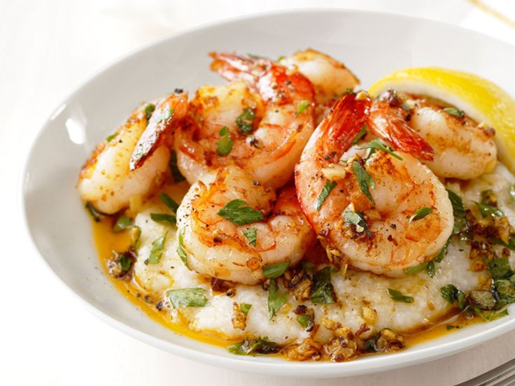 Lemon-Garlic Shrimp and Grits : You won't find sticks of butter in this comfort food. Don't worry about flavor, though; these shrimp are plenty zesty from the lemon and garlic.