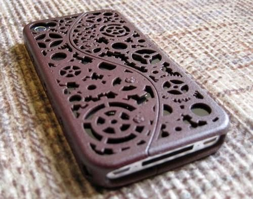 Designer iPhone 4S Steampunk Inspired Cogs and Gears Case (5 color options)