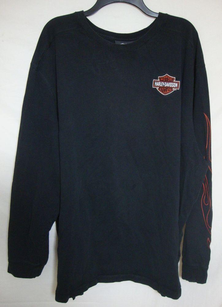 Harley Davidson Black Shirt Embroidered Shield Flames Long Sleeve Tshirt Men 5xl Long Sleeve Tshirt Men Clothes Design Black Shirt