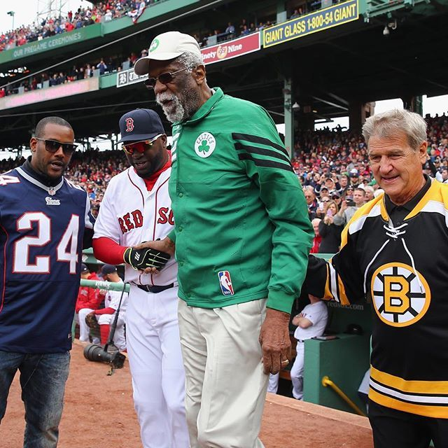 Boston's finest take over Fenway, as sports legends Ty Law, Bill Russell and Bobby Orr honor David Ortiz at his final home opener. [Credit: Maddie Meyer/Getty]
