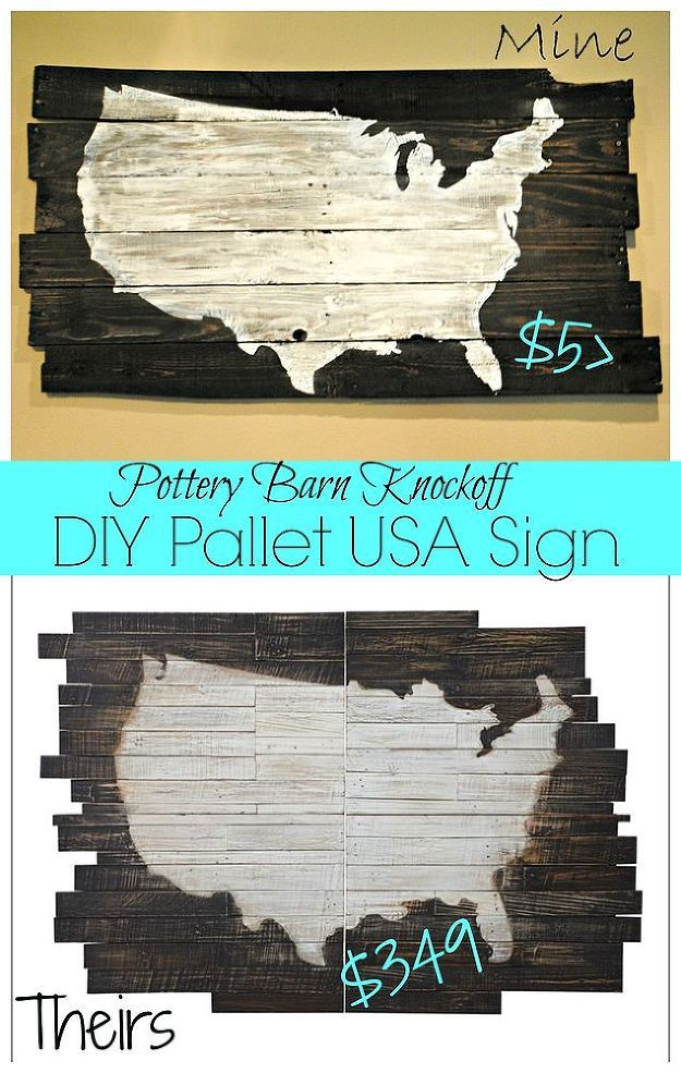DIY USA Pallet Wood Sign (Pottery Barn Knockoff ...
