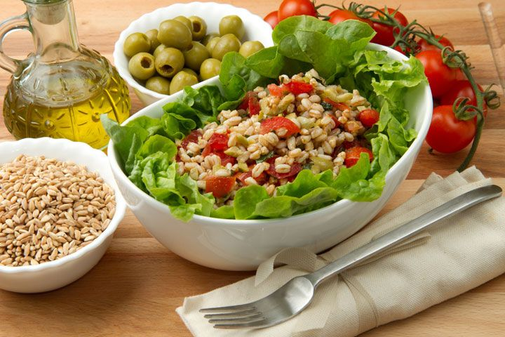 Hulled Barley Veggie Salad - I would be tempted to add shrimp or chicken or beans to make this a main course meal.