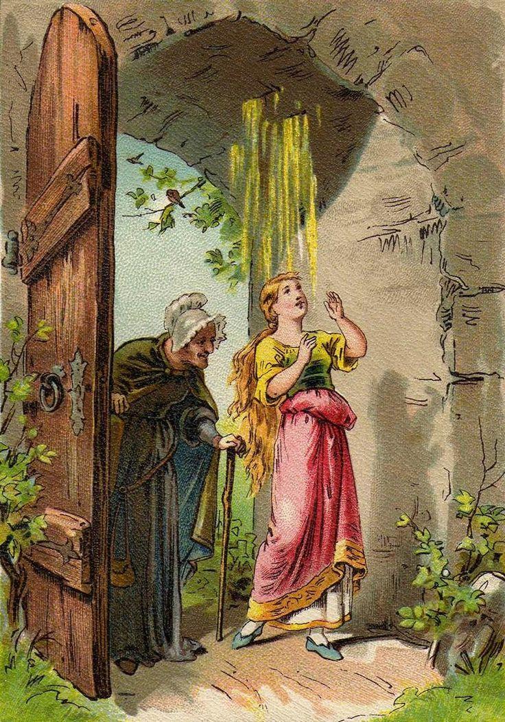 Illustrationen des Märchens Frau Holle.