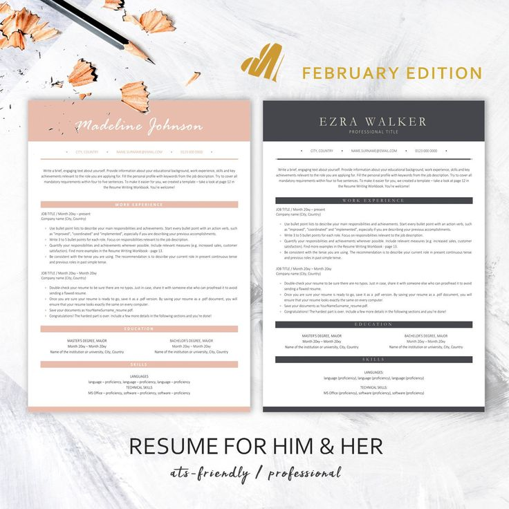 Professional ATSfriendly Resume Templates / Instant