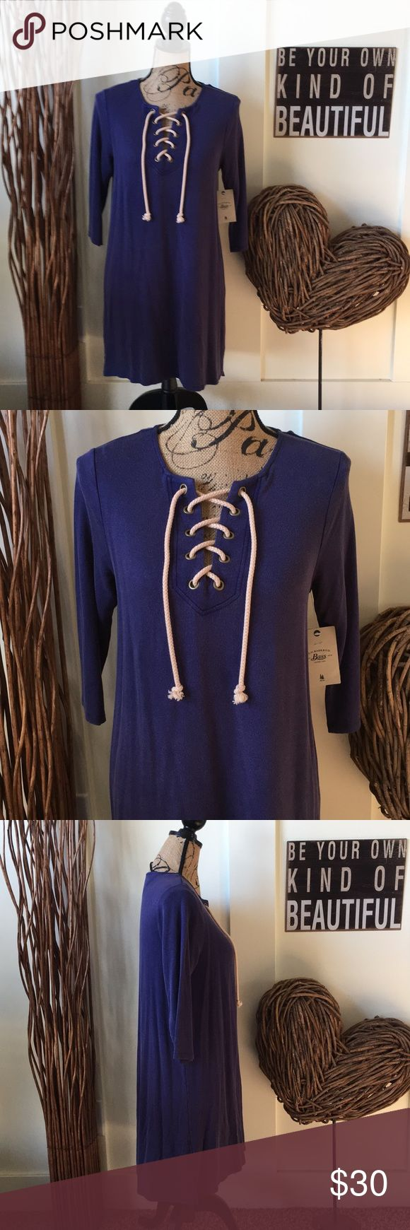 G.H. Bass & Co. laced front t-shirt dress This cute distressed wash T-shirt dress has three-quarter length sleeves and an A-line fit.  It has a laced front with a khaki rope for added style. G.H. Bass & Co. Dresses Midi