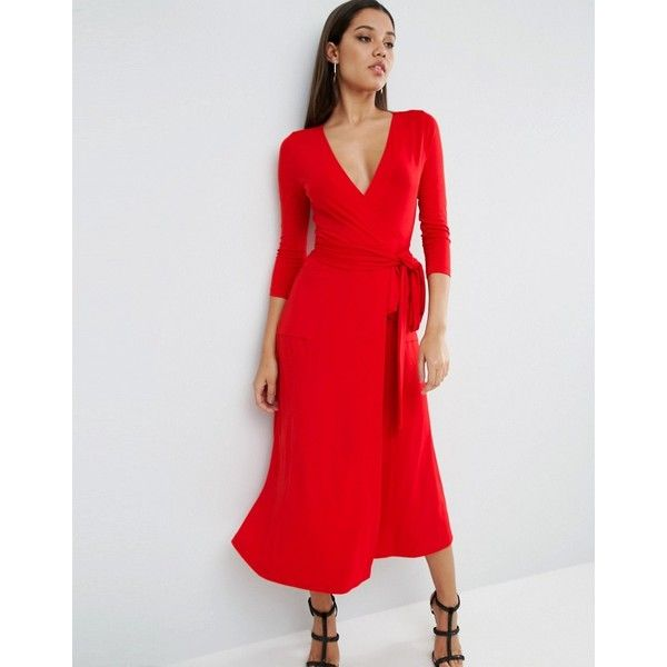 ASOS Wrap Maxi Dress In Jersey Crepe ($56) ❤ liked on Polyvore featuring dresses, red, wrap front dress, asos dresses, red v neck dress, tall maxi dresses and v neck maxi dress