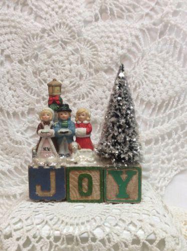 "Vintage Alphabet Blocks ""Joy"" Christmas Bottle Brush Tree Lefton Carolers in Collectibles, Holiday & Seasonal, Christmas: Modern (1946-90), Other Modern Christmas | eBay"