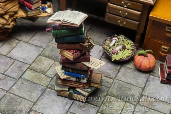 Pile/ stack/ set. Mix of aged 16 miniature leather/paper books