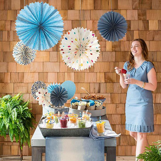 Throw an outdoor party on a budget -- we have paper decorations, easy snack ideas, and even a fun dip-dye technique that transforms dollar-store napkins into perfect party accessories.