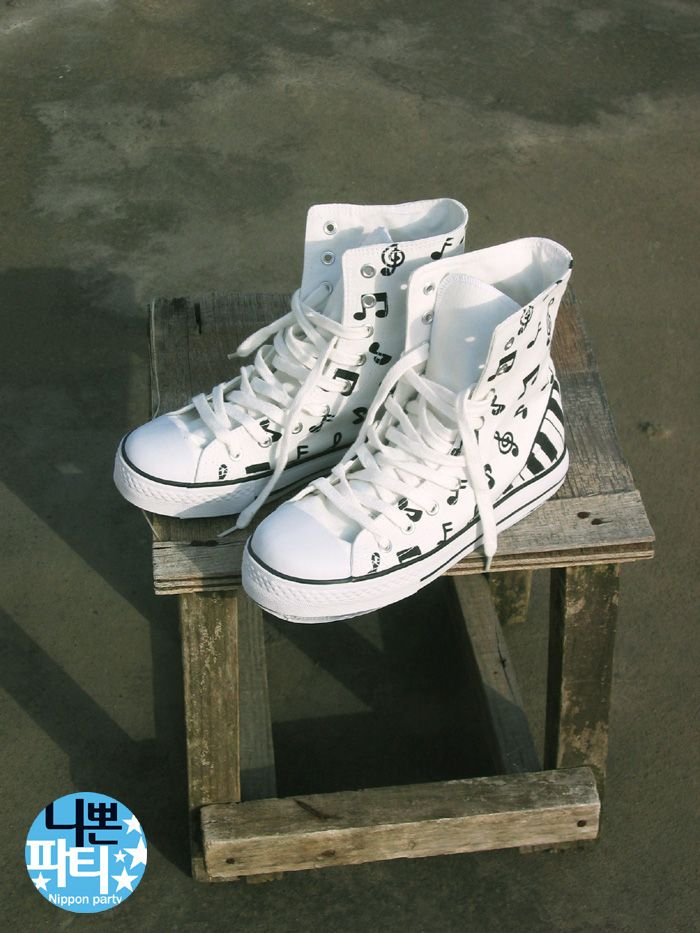 - White Piano High Top Shoes