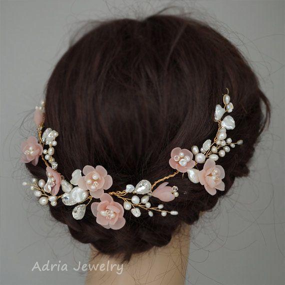Pelo novia guirnalda Blush boda rosa vides flores por adriajewelry
