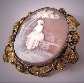 Antique Cameo Brooch, Vintage Victorian Scenic Pin, circa mid-19th Century