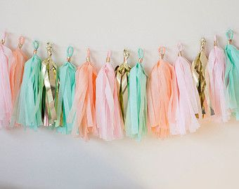 Pink Mint Gold Tassel Garland Mint Pink Gold by LoveGarlands