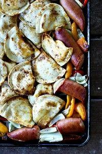 Kielbasa and Pierogies Sheet Pan Meal {one pan dinner}