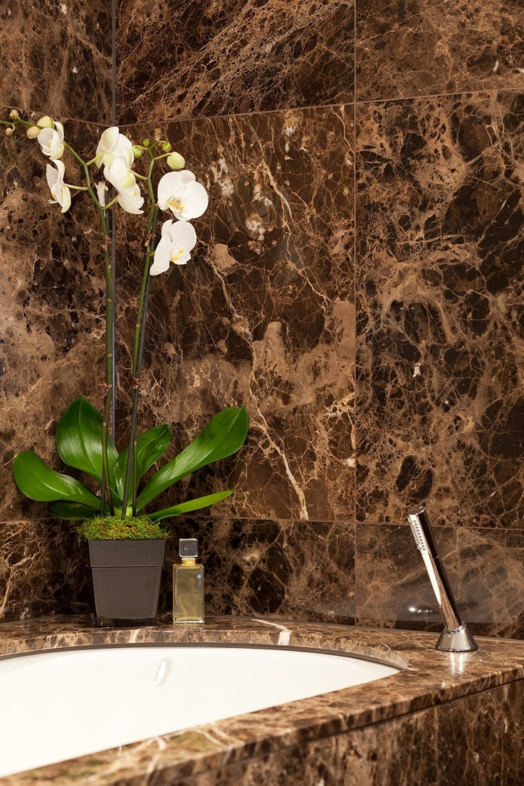 Brown marble bathroom miles redd - The Varying Brown Tones Of Dark Emperador Are Offset By The White Veining Of This Unique