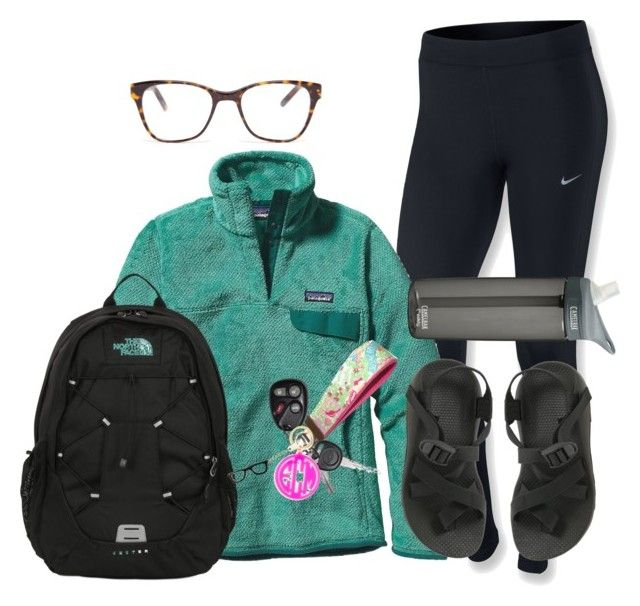 """School had me like "" by hmcdaniel01 ❤ liked on Polyvore featuring NIKE, Patagonia, Prism, The North Face, Chaco, Lilly Pulitzer, BaubleBar, Kate Spade and CamelBak"