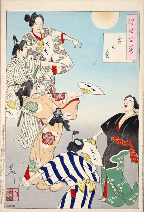 『盆の月』(『月百姿』シリーズ、作・月岡芳年)『盆の月』(1887年) 月岡芳年 満月のもと、盆踊りに興じる市井の人びとです。最後の浮世絵師は、庶民の生活も切り取って絵にしました。