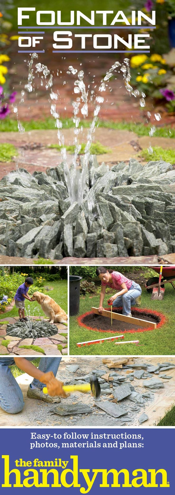 You can customize this design to suit your yard without changing the basic construction. Our fountain is about 4 ft. in diameter. You could make yours half as big or twice as big using the same materials and methods. To change the look of the fountain, you can use a different type of stone, arranged any way you like. Everything you need is available at garden and home centers. The cost of stone depends on the type you choose and where you live.