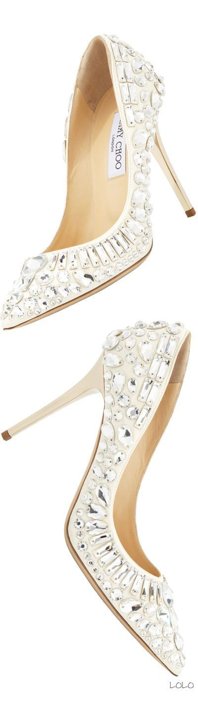 Jimmy Choo bridal shoes: cream pumps embellished with big crystals.