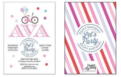 Rainbow Bicycle Birthday Party Invitations por DesignMyPartyShop