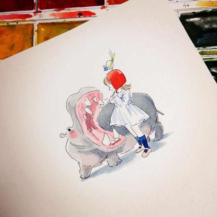 Haleine du matin. La petite #fille et l'#hippo #dessin #drawing #doodle #aquarelle #watercolor #painting #cute #kawaii #mariepommepuy #kerascoet #hippopotame #morning #breath by tchoukrik_kerascoet