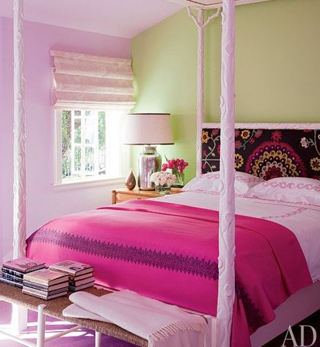 Pretty bedroom with soft Celery Green and soft pink walls.