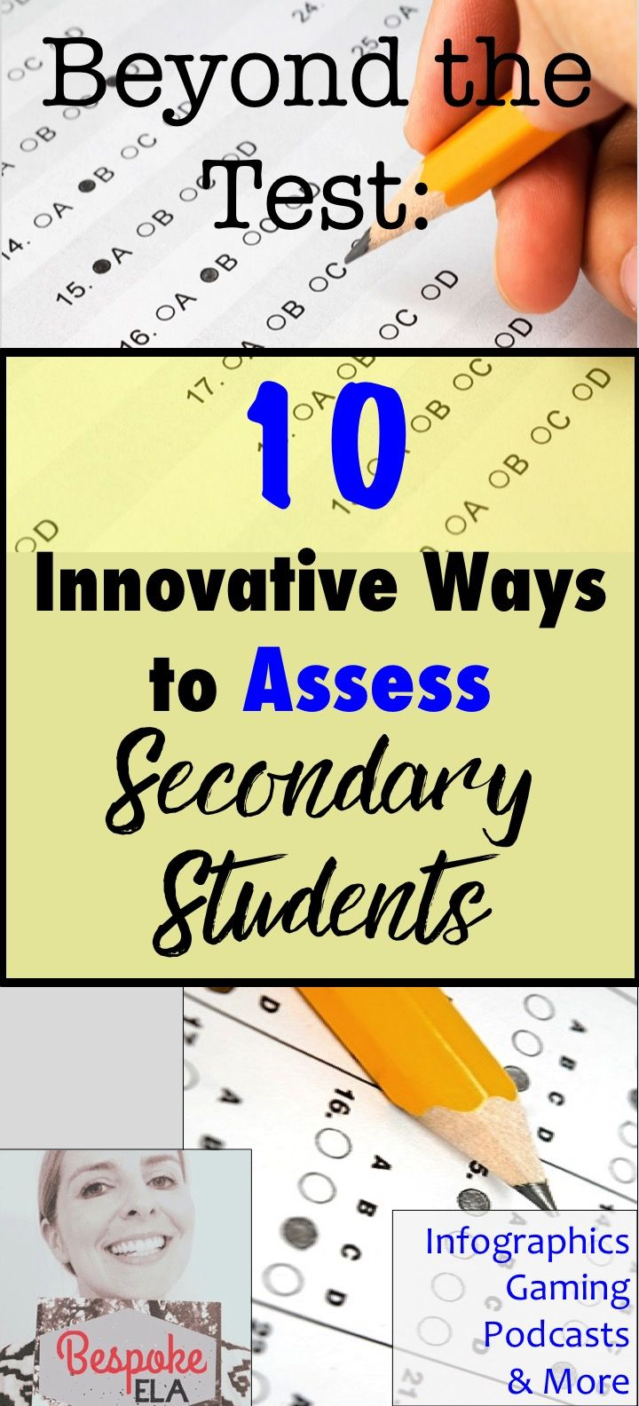 In this blog article by Bespoke ELA, you will find 10 innovative ways to assess secondary students across all content areas! If you are tired of traditional tests, standardized testing, presentations, and stereotypical discussions, than this blog can give you some fresh new ideas to diversify your formative and summative assessment strategies. by Bespoke ELA