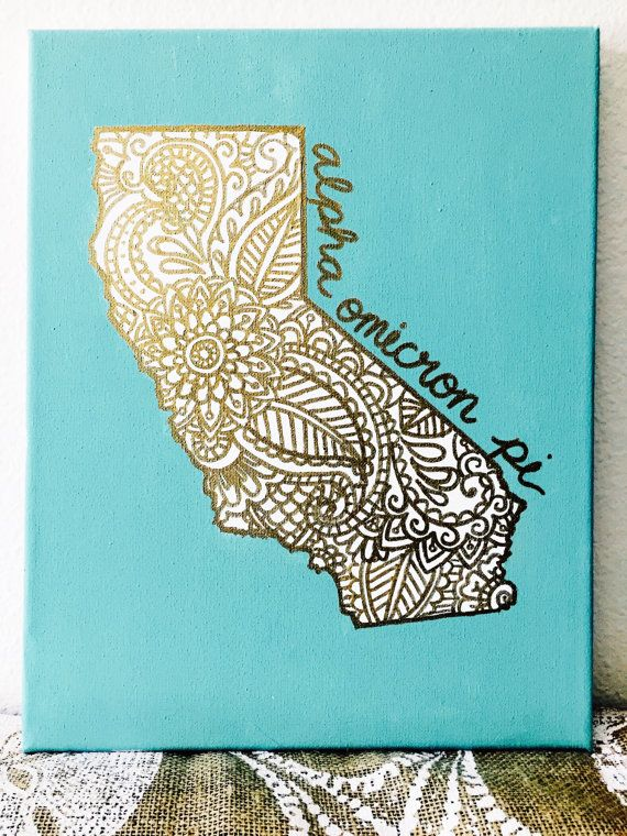 Sorority Canvas Home Is Where the Heart Is Custom State Gold Outline