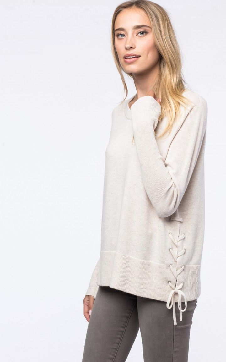 Side lace-up sweater by @REPEATcashmere #winter2017 #w17 #autumn #fall #wintercolour #cashmere #wool #white #beige #laceup #ribbon