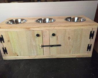 Knick rustique chien alimentation Station avec Diner Cabinet, Triple chargeur, 3 bol Chargeur Station, bol pour chien, Station de mangeoire en bois, mangeoire pour animaux de compagnie